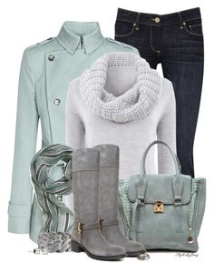Wintery Aqua n' Grey by stylesbyjoey on Polyvore featuring mode, Mint Velvet, Reiss, Paige Denim, John Galliano, Pieces and Brooks Brothers