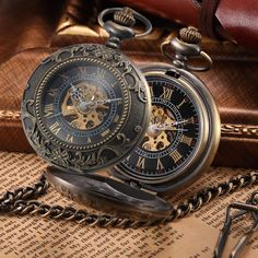 Steampunk Skeleton Bronze Mechanical Pocket Watch Men Vintage Clock Necklace Pocket & Fob Watches With Chain Relogio De Bolso //Price: $33.98 & FREE Shipping //     #DRONE