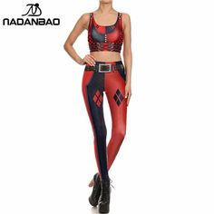 #FASHION #NEW NADANBAO New Women leggings Harley Quinn Super Hero 3D Printed Dead-pool Fitness Set