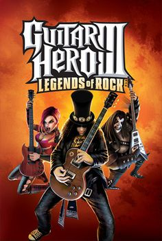 """The title """"Guitar Hero III: Legends of Rock"""" appear in big text at the top on an orange-brown, smoke-like background. Three of the game's characters, each dressed in rock attire, posing while playing their guitars, are shown below the title."""