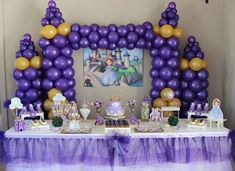 Balloon castle backdrop at a Sofia the First birthday party! See more party ideas at CatchMyParty.com!
