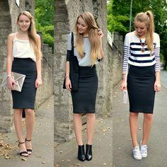 ONE SKIRT THREE STYLES - Vintage life en Vogue chic - casual - sporty chic black midi pencil skirt