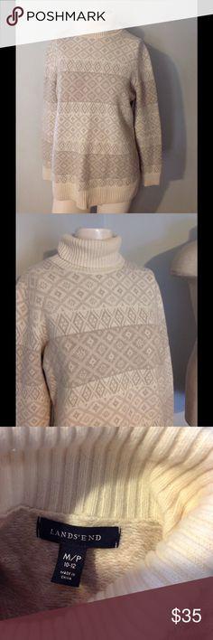 Lands End Nordic Wool Blend Turtleneck Sweater M Very pretty Lands End Nordic style sweater. Wool blend in size Medium- nice condition Lands' End Sweaters Cowl & Turtlenecks
