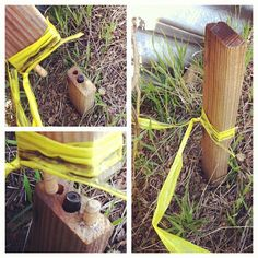 Nicely done fake survey stick geocache. I imagine the flagging tape on the top piece right above the cut helps camouflage the fact it's in two pieces. (pinned from instagram to Hollow Log Geocaches - https://www.pinterest.com/islandbuttons/hollow-log-geocaches/) #IBGCp