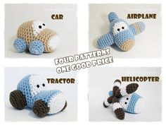 Crochet patterns amigurumi vehicles stuffed toys - car, airplane, tractor and helicopter - pdf tutorials - pattern $11.43