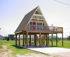 Elevated A-Frame house - Yahoo Image Search Results A Frame House Plans, A Frame Cabin, Small House Plans, House On Stilts Plans, Tiny House Cabin, Cabin Homes, River House, Little Houses, Future House