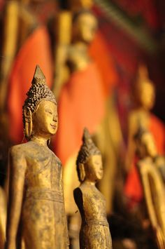 Statues inside the Wat Xieng Thong Buddhist temple in Luang Prabang, Laos