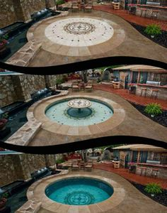 Hidden Water Pool...depth control, fountains, tables, jets,heating, etc. This is probably one of the coolest pool concepts I have seen for small yards you can go from patio to fountain to hot tub to pool....WHAT!!! www.hiddenwaterpools.com/index.php