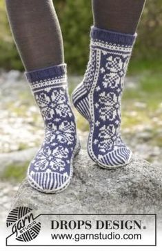 Socks & Slippers - Free knitting patterns and crochet patterns by DROPS Design - Welcome to DROPS Design! Here you will find more than free knitting and crochet instructions - Fair Isle Knitting, Lace Knitting, Knitting Socks, Knitting Patterns Free, Knit Crochet, Crochet Shoes Pattern, Shoe Pattern, Crochet Patterns, Drops Design