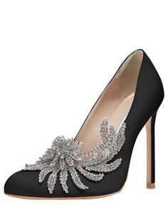 Be still my flaunting heart! Swan Embellished Satin Pump, Black by MANOLO BLAHNIK at Bergdorf Goodman.