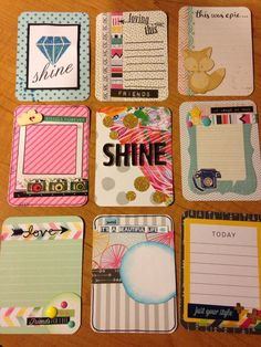 Handmade project life cards: Shine by CodisCustomCards on Etsy Pocket Scrapbooking, My Scrapbook, Scrapbooking Layouts, Project Life Layouts, Project Life Cards, Journal Cards, Journal Ideas, Pocket Letters, Pocket Cards