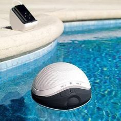 Floating pool Ipod speaker [wireless bluetooth connection] - Home Decoz Ipod Speakers, Living Pool, Pool Accessories, Pool Floats, Gadgets And Gizmos, Electronics Gadgets, Pool Toys, Cool Inventions, Cool Tech