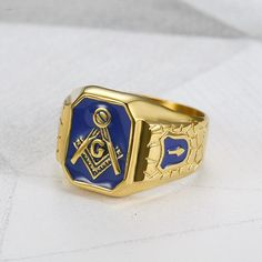 Looking for a new ring that you can be proud of with the Brethren? Check our recently-added blue enamel stainless steel masonic ring - currently on offer. Masonic Store, Masonic Art, Masonic Jewelry, Freemason Ring, Coin Display, Freemasonry, Ring Size Guide, Beautiful Curves, Band Rings