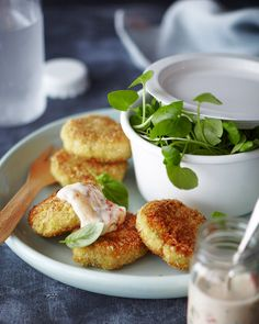 Curried salmon cakes with sweet chilli & basil yoghurt Salmon Cakes, Sweet Chilli, Protein Sources, Caprese Salad, Basil, Curry, Frozen, Meals, Breakfast