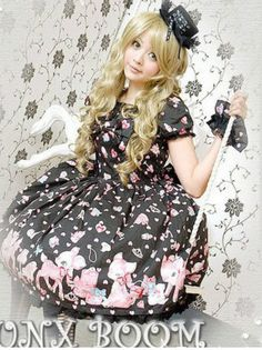 Gothic SWEET COLLECTION LOLITA PAINT DRESS +WRISTBAND Black M