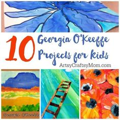 O'Keeffe's paintings make great inspiration for kids' art projects, so let's check out 10 of the best Georgia O'Keeffe projects for kids! posted on Artsy Craftsy Mom by Shruti B....Georgia O'Keeffe was born in November, making this her birthday month and the perfect opportunity to celebrate her work! Since most of her subjects were flowers, O'Keeffe's paintings make great inspiration for kids' art projects,