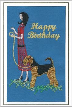 """<b>Airedale Terrier Birthday Card Embroidered by Dogmania - 8"""" x 6"""" (G8002)</b>"""
