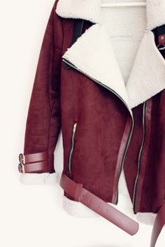 Burgundy teddy biker jacket