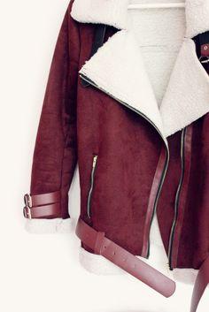 Burgundy teddy biker jacket