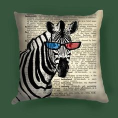 Zebra 3d glasses  pillow Cover, Zebra 3d glasses decor
