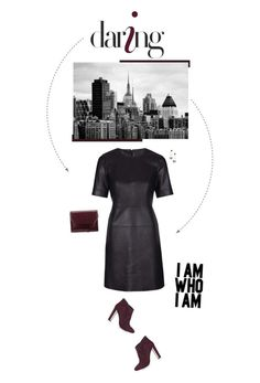 """Faux Leather Shift Dress."" by xabbielou ❤ liked on Polyvore featuring Topshop and Kin by John Lewis"