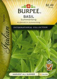 Burpee Herb Basil Sumerlong 69678 (Green) 50 Seeds David's Garden Seeds http://www.amazon.com/dp/B00771SMAK/ref=cm_sw_r_pi_dp_Z2LPtb12VQQ294GV