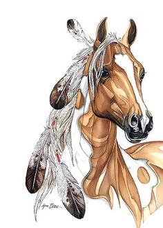 Beautiful brown horse with indian feathers. . Color: Brown. Tags: Amazing, Beautiful, Awesome