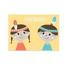 Indianer Einladungskarte Kindergeburtstag