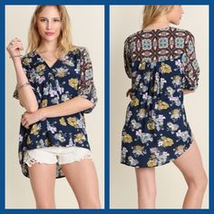 Flower print high-low top Super cute and fun for Spring! Cotton blend with hints of mustard and navy. Price firm unless bundled. I discount on bundles of two or more items! Boutique Tops Blouses