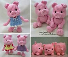 Free Crochet Pig Pattern The Cutest Collection Crochet Pig, Cute Crochet, Crochet For Kids, Crochet Crafts, Crochet Dolls, Crochet Projects, Crochet Ideas, Crotchet Patterns, Crochet Animal Patterns