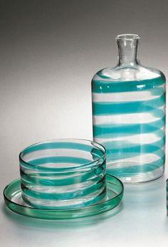 Carlo Scarpa . Bottle, glasses, tray, and small bowl in clear uncolored a spirale glass with aquamarine (acquamare) decoration, ca. 1936.