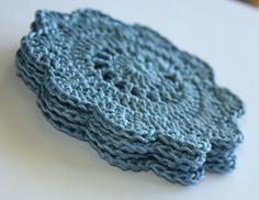 Pretty Doily Crochet Coasters  Set of 4 Dusty Blue by kylieB, $14.00