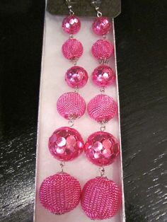 Pink Mesh Ball Earrings  $12.00