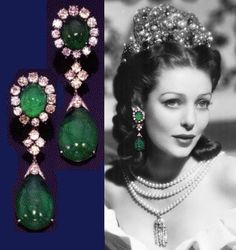 Loretta Young jewellery Cabochon Emerald and Diamond Earrings Circa 1960
