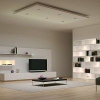 Furniture and Accessories. Modern Open-Space Living Room Design Lighting System Ideas with Cool LED Ceiling Recessed and Wall Shelves Concealed Lights. Creative Eye-Catching Home Interior LED Lights