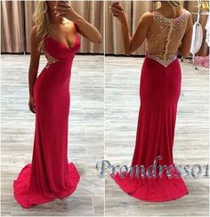 Beautiful beaded v-neck rosy chiffon long prom dress with see-through back, formal dress, prom dress 2016 #coniefox #2016prom