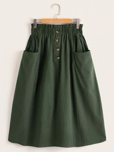 Army Green Paperbag Waist Pocket Front Skirt skirt skirt skirt skirt outfit skirt for teens midi skirt Cute Skirts, Casual Skirts, Skirts For Sale, Women's Skirts, Long Skirts, Modest Fashion, Fashion Dresses, Jeans Fashion, Skirt Outfits