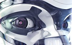 Look into the eyes of any fully rendered robot, and you'll see something of its human creator staring back at you. Robots can succeed where humans fail, continue when we get tired, and symbolise the potential of our future. Character Concept, Concept Art, 3d Character, Robot Eyes, Cyborg Girl, Humanoid Robot, Cyberpunk Art, Cyberpunk Character, Robot Design