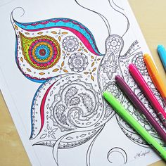 Relax With These 188 Free, Printable Coloring Pages for Adults: Free, Printable Adult Coloring Pages from Hattifant Davlin Publishing Printable Adult Coloring Pages, Free Coloring Pages, Coloring Sheets, Coloring Books, Butterfly Coloring Page, To Color, Mandala Art, Colored Pencils, Lettering