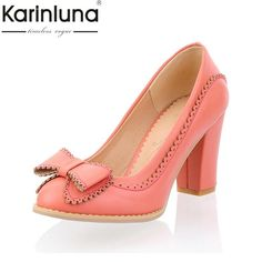 c067f9491df0 Karinluna Big Size 34-43 Women Pumps Sweet Bowtie Shoes Vintage Chunky High  Heels Party