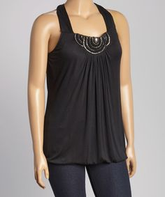 Look at this Simply Irresistible Black Embellished Tank - Plus on #zulily today!