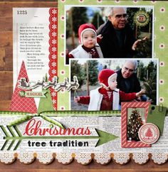 Christmas Tree Tradition Scrapbook Layout. Echo Park Paper Company