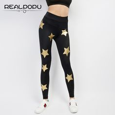 Realpopu 2017 Summer High Thin Breathable Push Up Fitness Leggings Women  Star Print Sexy Slim Adventure 58b1f18df783