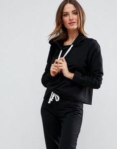 5fb4a1a2f1e1 ASOS LOUNGE Raw Edge Hoodie Women s Sweatshirts