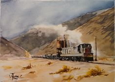 Vista del tren que recorre las montañas entre las estaciones mineras de Llanta y Montandón. Pintado por el pintor copiapino Juan Carlos Aguirre Carrasco.