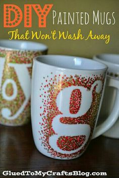 Put a letter decal on a mug, use a pebo paint marker to make dots around it, then pull off the decal and bake it in the oven to make it permanent (you can get the markers at Michael's craft store)
