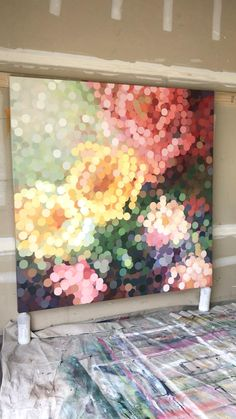 Abstract Canvas Art, Diy Canvas Art, Abstract Flower Art, Colorful Abstract Art, Large Canvas Art, Abstract Nature, Painting Abstract, Large Art, Circle Painting