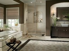 this is one of my favorite designs for a bathroom that would not look like a handicapped bathroom when time to sell the house- would not have to be this spacious