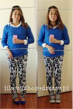 Cobalt blue sweater and aztec-print skinnies Blue Sweaters, Cobalt Blue, What I Wore, Aztec, Capri Pants, Dress Up, Skinny, Black And White, My Style