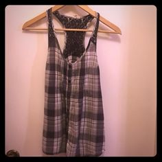 Grey Tank Grey plaid button up tank with lace back and adjustable sides. Tops Tank Tops